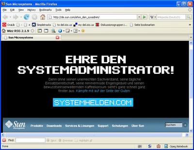 Screenshot: Ehre den Sysadmin