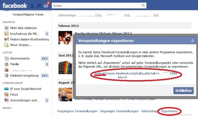 Screenshot Facebook Event Export